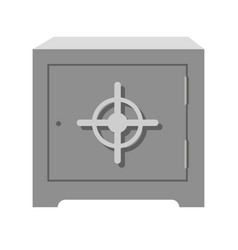 metal square heavy old-fashioned safe with round vector image
