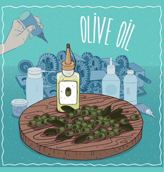 Olive oil used as grease lubricant vector