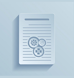 Paper icon of document with gears vector
