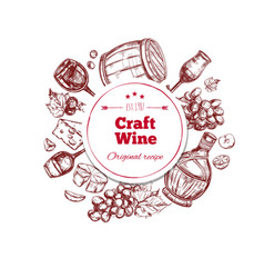 red wine craft production concept vector image