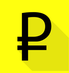 Ruble sign black icon with flat style shadow path vector