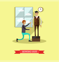 sewing suit concept in flat vector image vector image