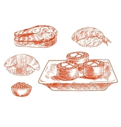 Sketched seafood icons with sushi salmon caviar vector image vector image