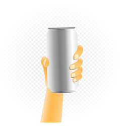 Small can drink in hand vector