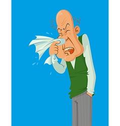 sneezes older man vector image