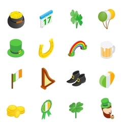St Patrick Day isometric 3d icons vector image