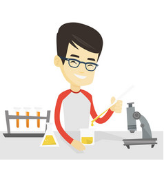 Student working at laboratory class vector