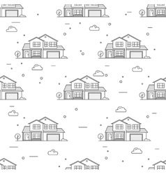 Thin line suburban american houses seamless vector image vector image