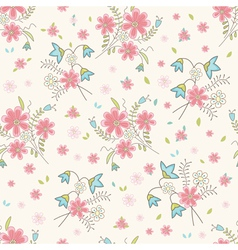 Vintage wildflowers seamless vector