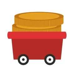 Wagon with coins icon vector