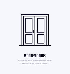 Wooden doors installation logo repair flat line vector