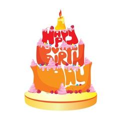 Happy Birthday Text Cake vector image