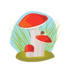 Forest mushroom with grass and snail vector