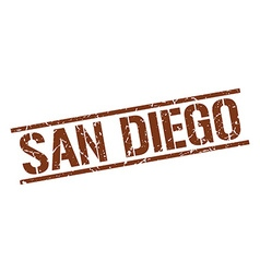 San diego brown square stamp vector