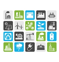 Silhouette electricity and energy source icons vector