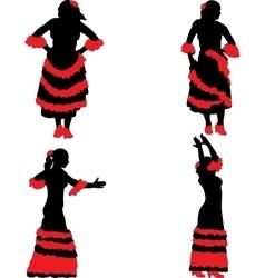 Woman dancing flamenco vector image
