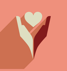 Flat web icon with long shadow heart hands vector