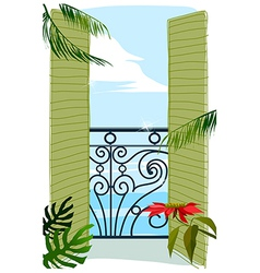 Balcony door to sea vector