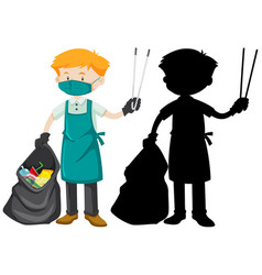 Male cleaner holding tongs and garbage bag vector
