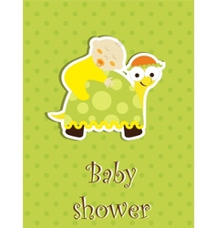 Baby shower card - baby sleep on a turtle vector image