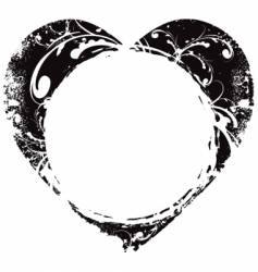 grunge Valentine's heart frame vector image