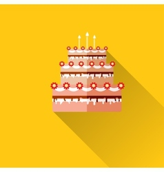 Birthday cake flat icon with long shadoweps10 vector