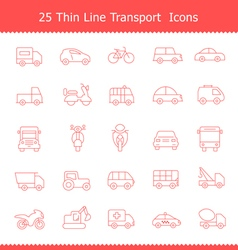 Transport icons thinline stroke vector