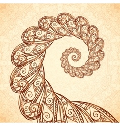 Fractal spiral in henna tattoo style vector