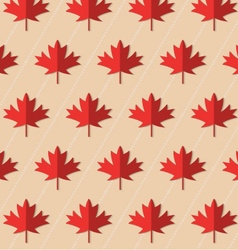 Retro fold red maple leaves on diagonal dots vector