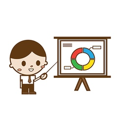 Businessmen pointing at a chart board vector