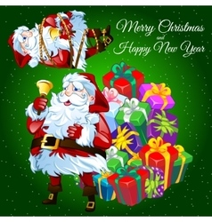 Funny greeting card with gift boxes and santa vector
