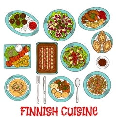 Finnish national cuisine dishes set vector