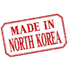 North korea - made in red vintage isolated label vector