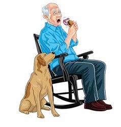 Old Man Eating Burger vector image