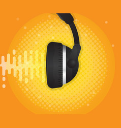 abstract sound wave with headphone and halftone vector image vector image