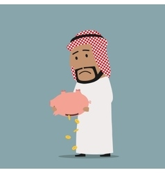 Arabian businessman with empty piggy bank vector image vector image