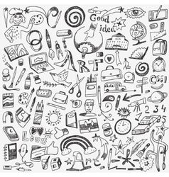 art tools school - doodles set vector image vector image
