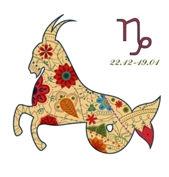 Capricorn zodiac sign retro vector