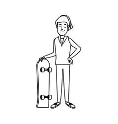 Cartoon man skateboard sport play vector
