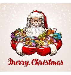 Christmas santa claus with gifts in hands vector