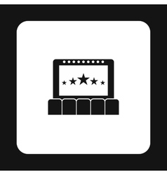 Cinema auditorium with screen and seats icon vector image vector image