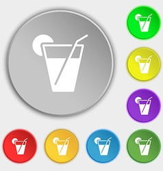 Cocktail icon sign symbol on eight flat buttons vector