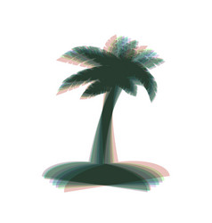 Coconut palm tree sign colorful icon vector