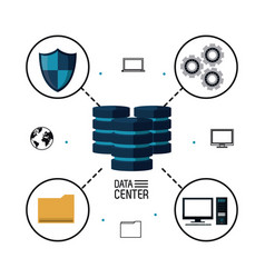 data center storage vector image