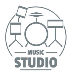 Drum kit logo simple gray style vector
