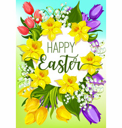 Easter spring flowers cartoon poster design vector