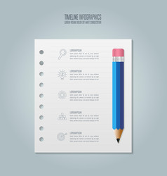 Education infographics template 5 step option vector