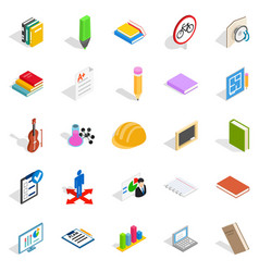 Educational institution icons set isometric style vector