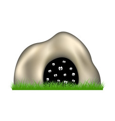 Eyes in the dark cave and green grass vector