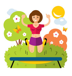 girl on a trampoline flat style colorful vector image